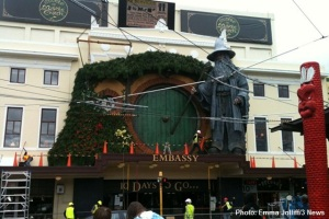 A giant Gandalf model on top of the Embassy Theatre, Wellington, New Zealand ahead of The Hobbit premiere