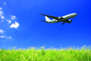 Plane flying over green grass against a blue background