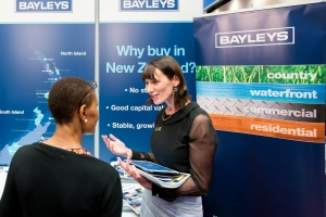 Finding out about property in New Zealand. A very busy stand.